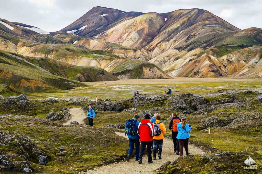 Hikers in the geothermal Landmannalaugar region