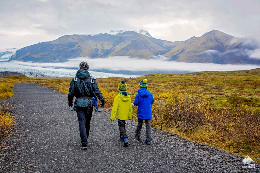 Family walking in Skaftafell Nature Reserve