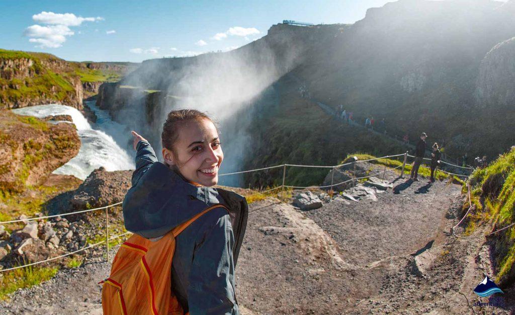 Girl near Gullfoss Waterfall