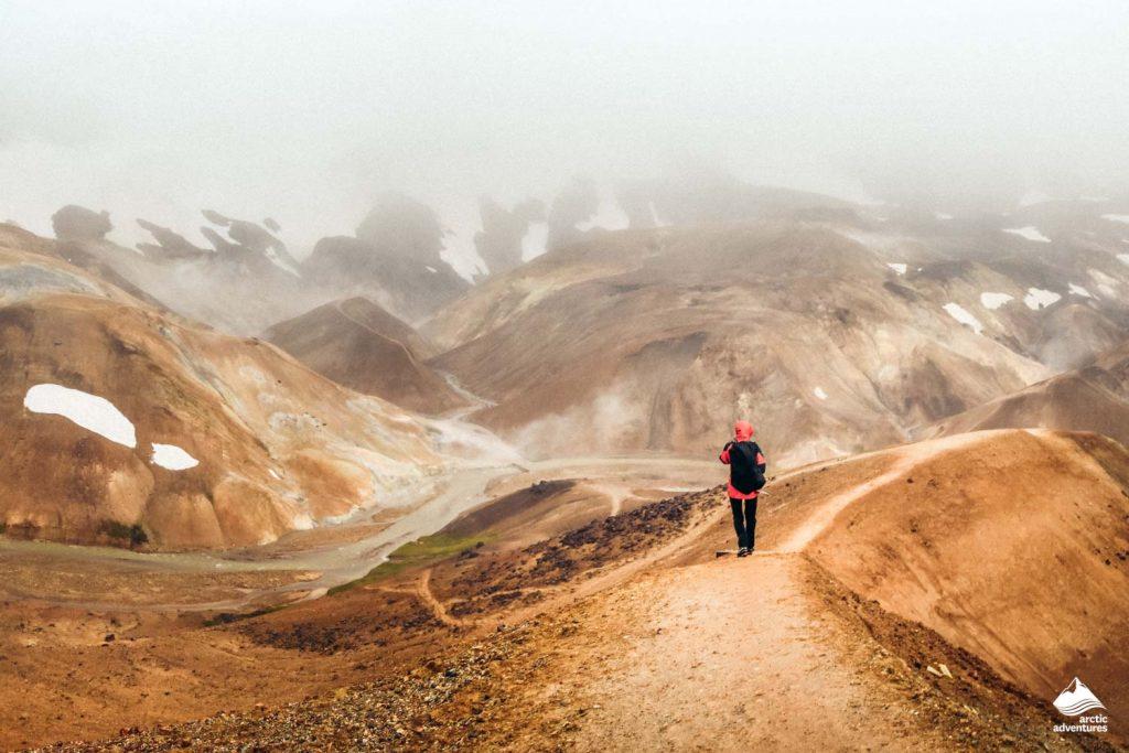 Hiker in Landmannalaugar highlands, Iceland