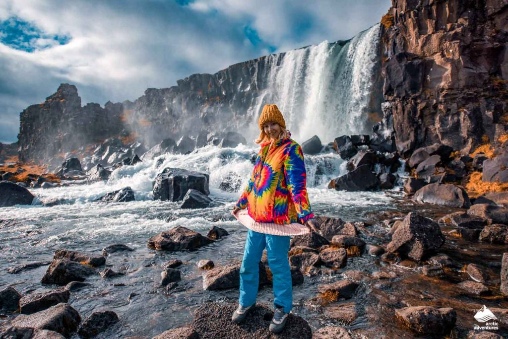 Waterfall Oxararfoss in Thingvellir