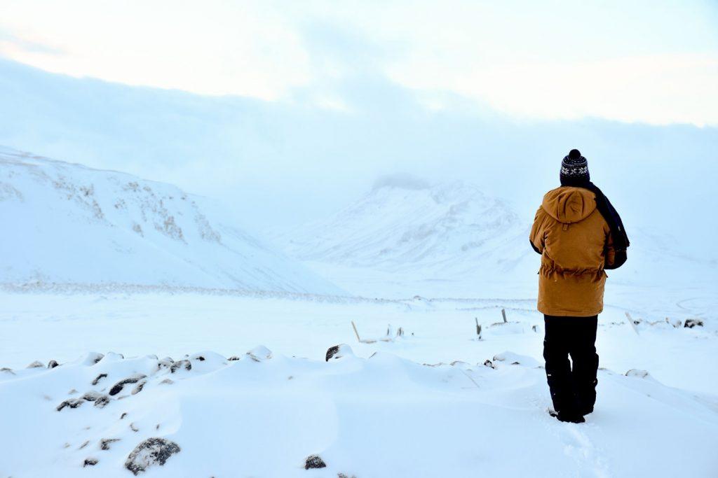 Man near Langjokull Glacier