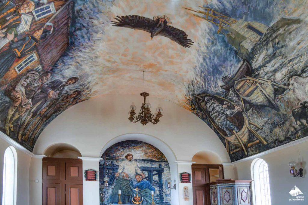 Inside church in Flatey