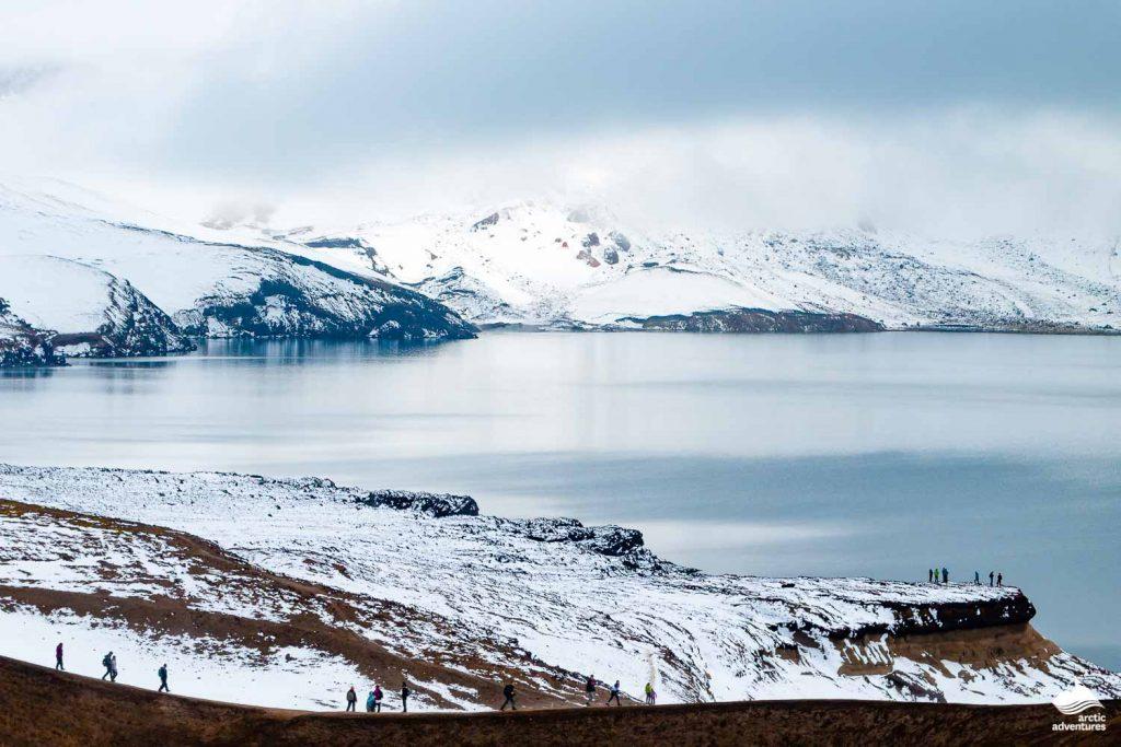 Askja lake in winter