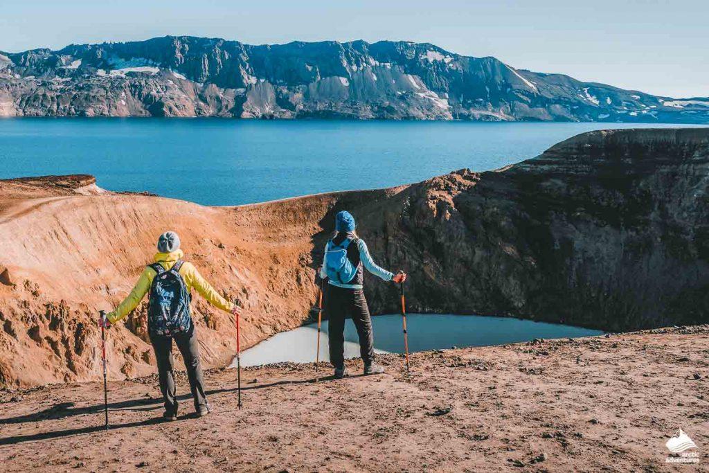 Hikers looking at Geothermal crater lake