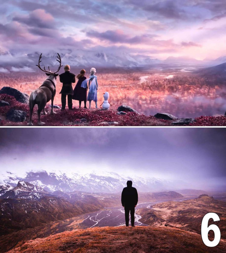 thorsmork mountains river man standing movie frozen 2