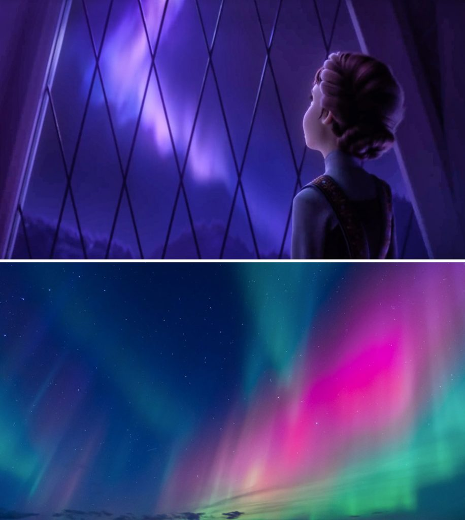 Northern lights girl looking through window frozen 2