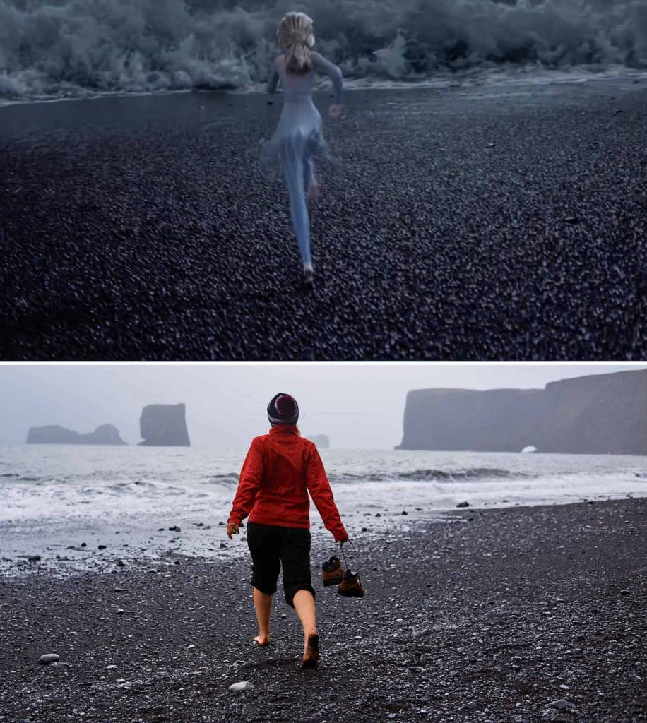 black sand beach iceland movie frozen 2