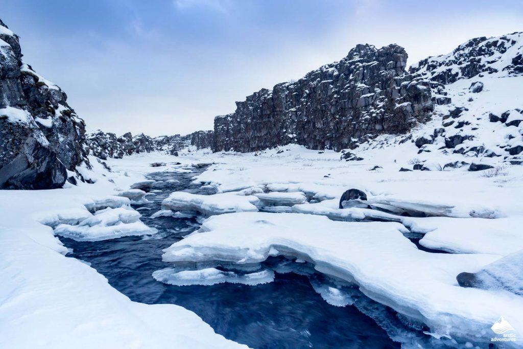 Valley of Thingvellir in winter