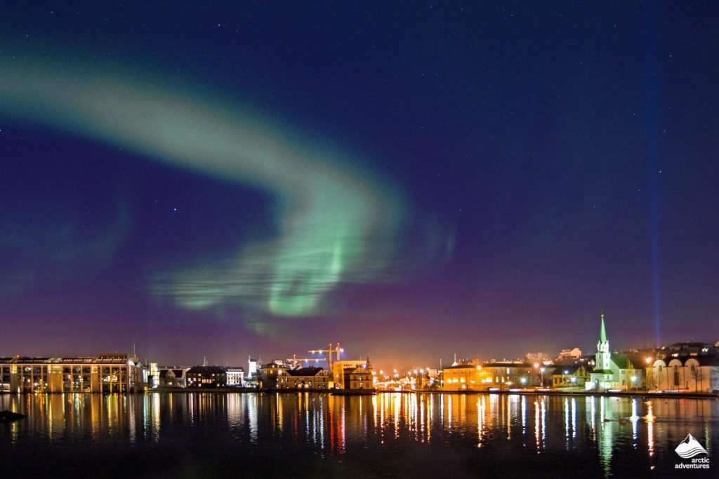 Night at Reykjavik with Northern Lights