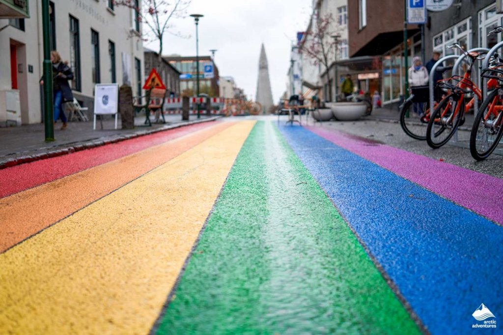 LGBT road in Reykjavik