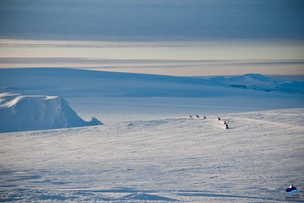 Snowmobiling on Langjokull glacier in Iceland