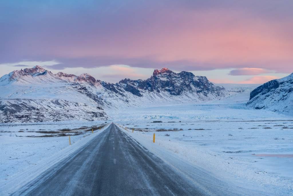 Snowy Icelandic landscape in December