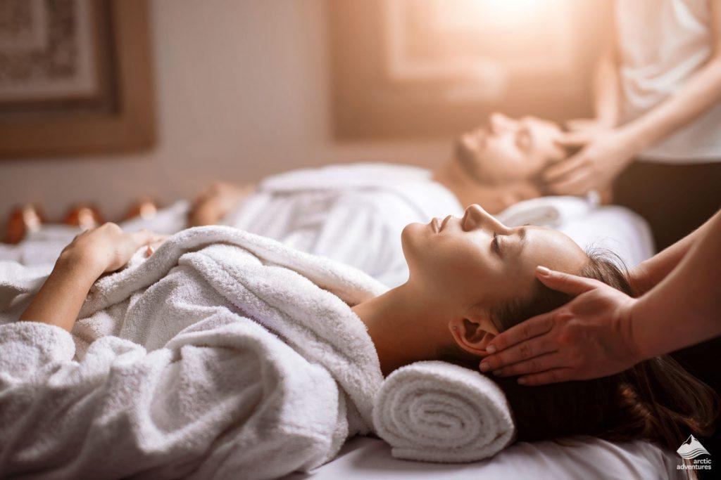 Woman enjoying head massage