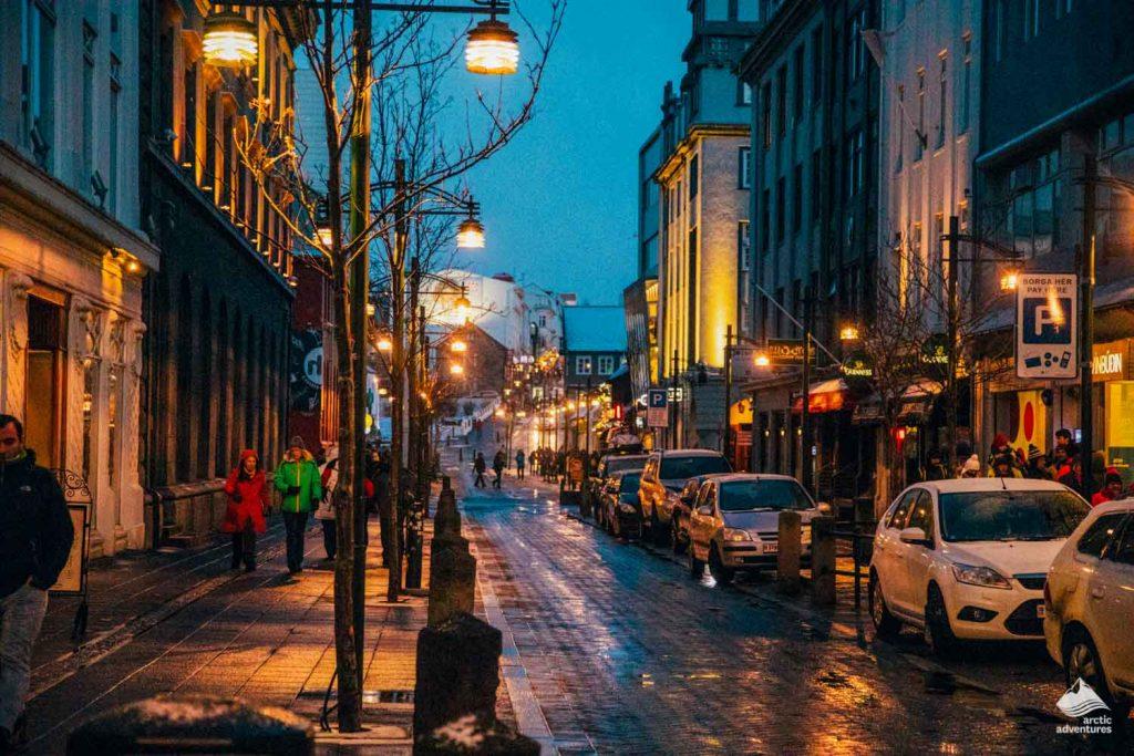 Reykjavik Street View At Night