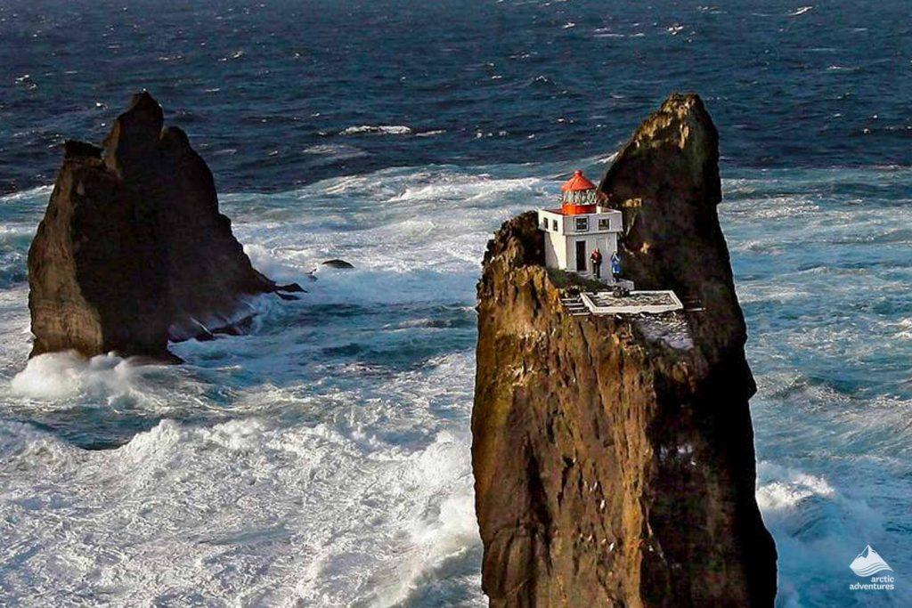 Isolated Þrídrangaviti Lighthouse in Iceland