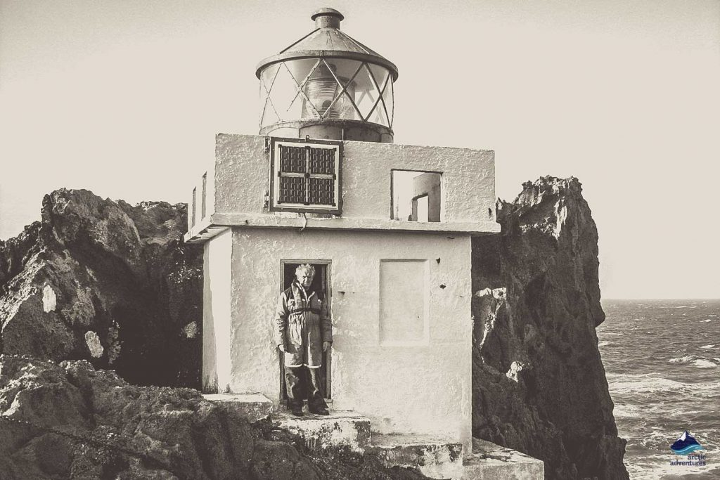Isolated Lighthouse in Iceland - old photo