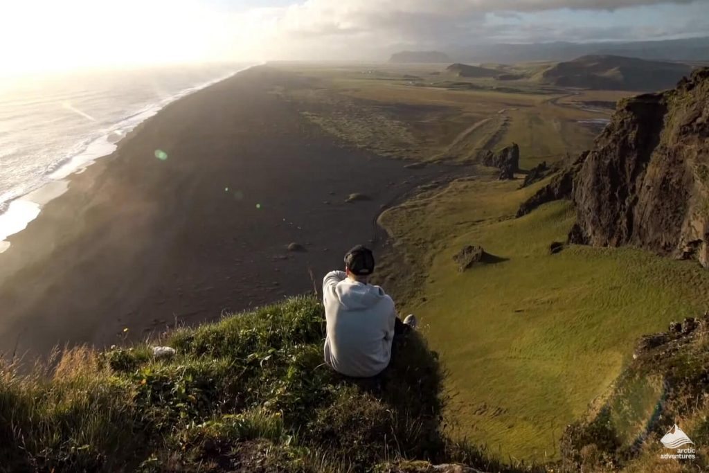 Justin Bieber looking at Reynisfjara beach