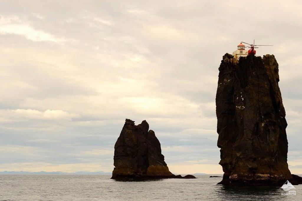 Helicopter on the helipad of Þrídrangaviti Lighthouse