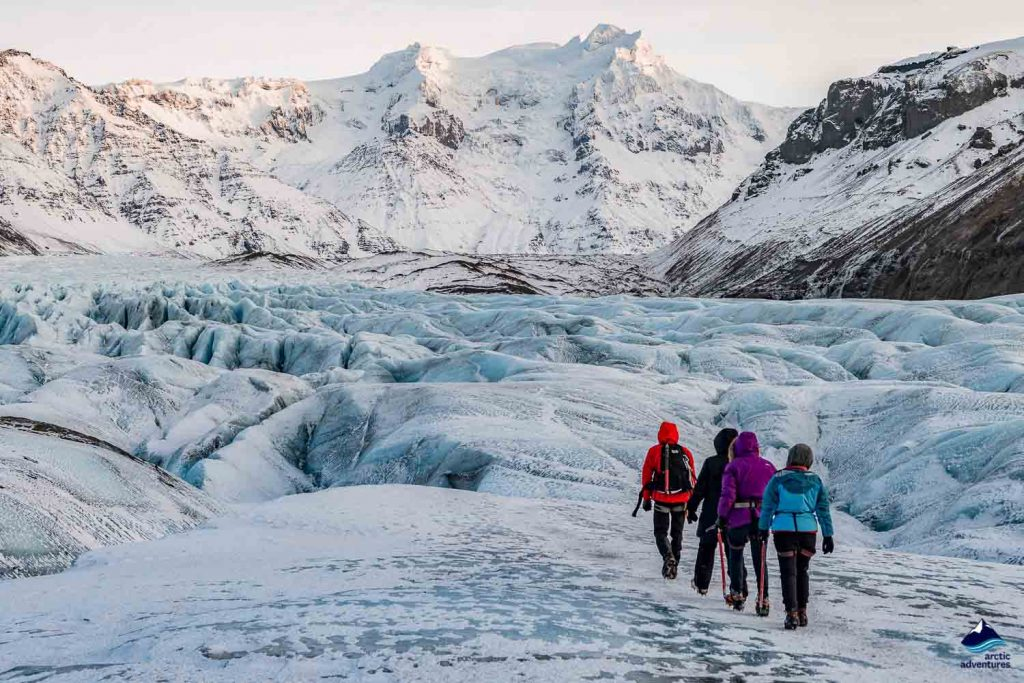 People on a glacier hiking tour in Iceland