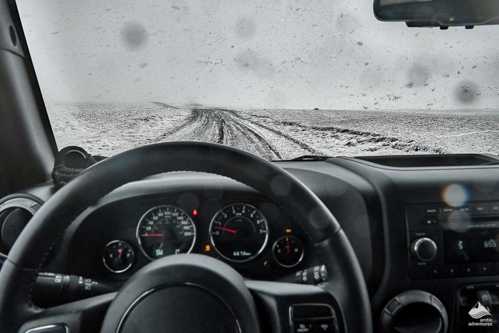 Driving in harsh conditions in Iceland