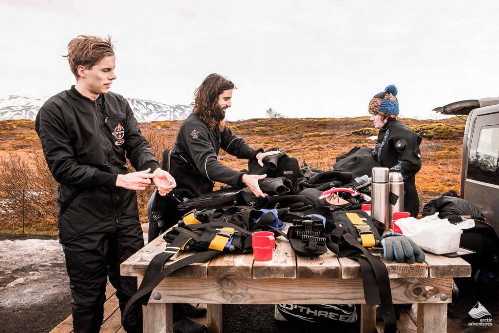 Preparation before diving in Iceland