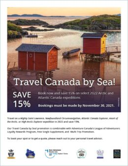 Travel canda by sea proo flyer cover image