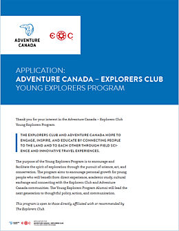 Young Explorers Application Cover