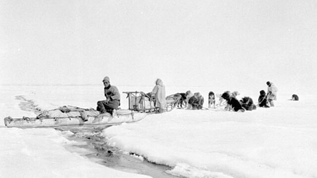 Inuit qamutik sled dogs crossing ice crack 1931 coronation gulf
