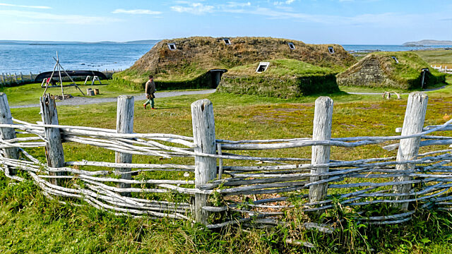 L Anse aux Meadows behind fence
