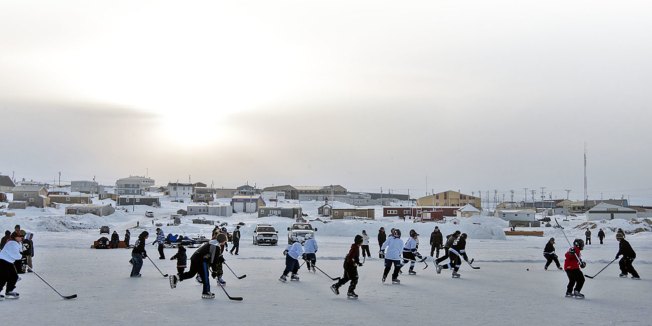 Kids Playing Hockey Igloolik