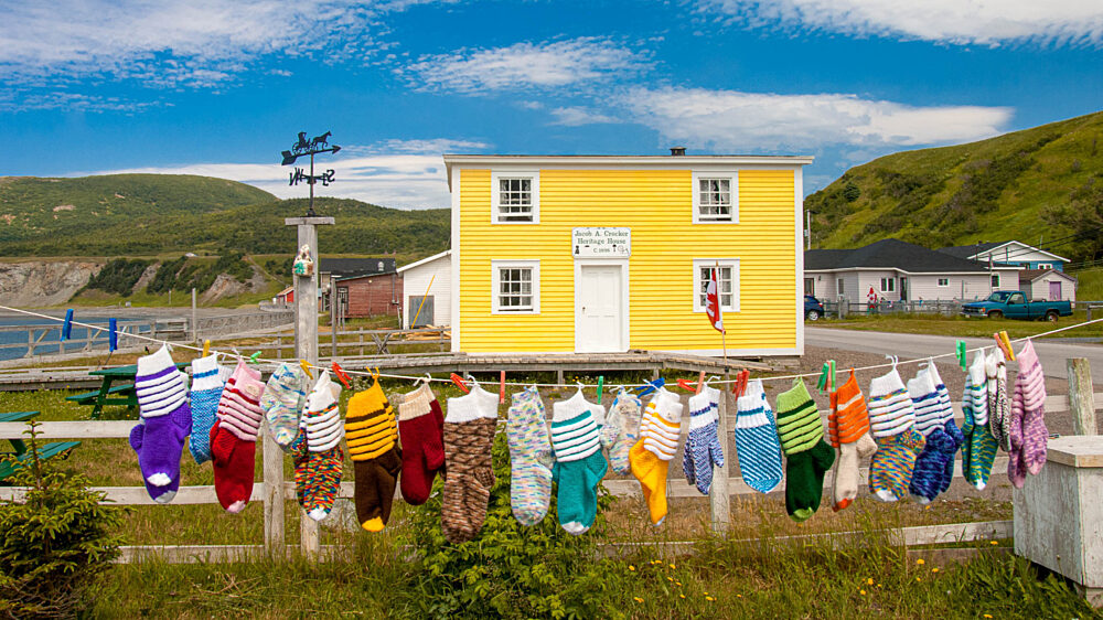 Trout River Newfoundland laundry hanging on the line