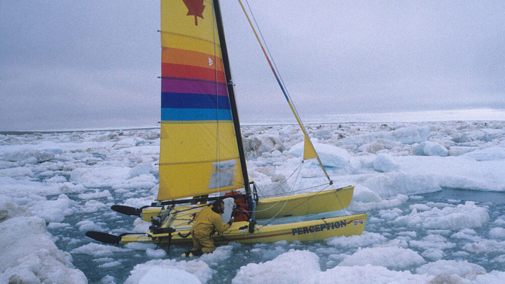 Mike beedell and jeff mcinnis pushing through multi ton pack ice in an ice gyre in the beaufort sea 1986