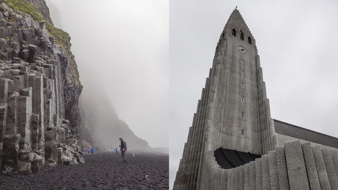 Basalt columns and Reykjavic church