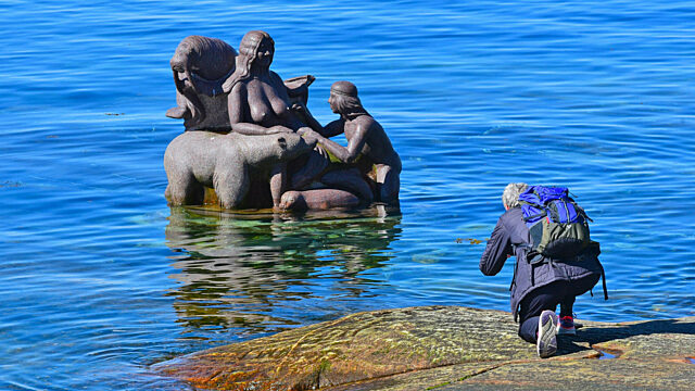 Day 11 guest photographs Inuit sea goddess statue Nuuk