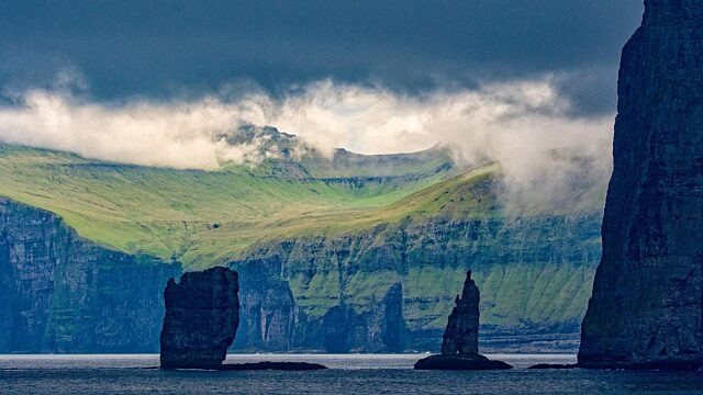 Giant and the Hag Faroes sunshine
