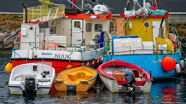 Greenland fishing boats and dinghies