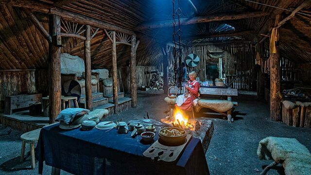 Inside a recreated Viking longhouse 2