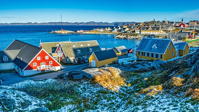 Museum buildings left along Nuuk waterfront