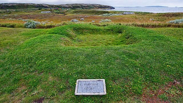 Raised outline of turf timber structures L Anse aux Meadows