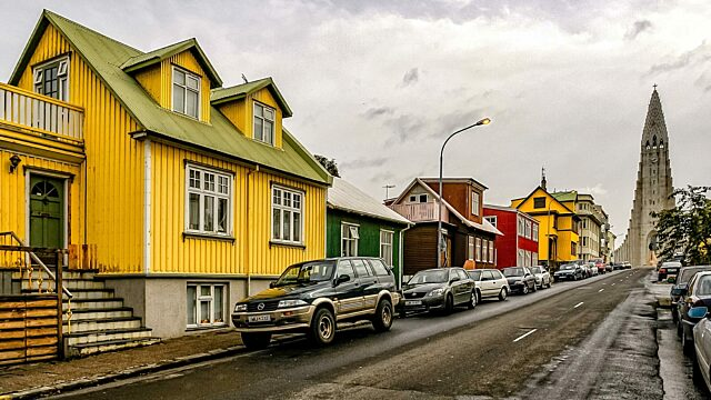 Reykjavik street with church and houses