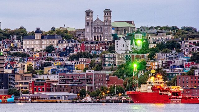 St Johns Newfoundland buildings and lights