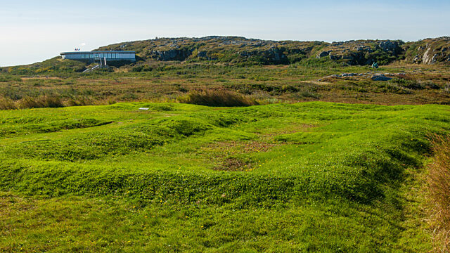 View of L Anse aux Meadows visitors centre from archaeology site