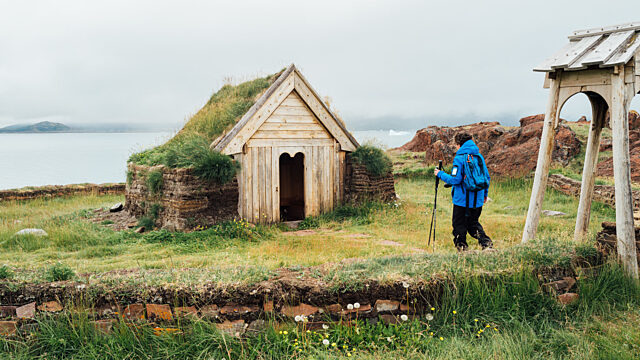 Guest walks to norse church reconstruction brattahlid greenland