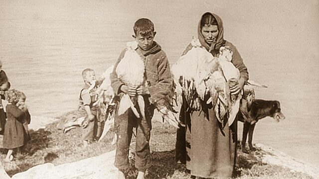 Historical photo children and women carrying birds