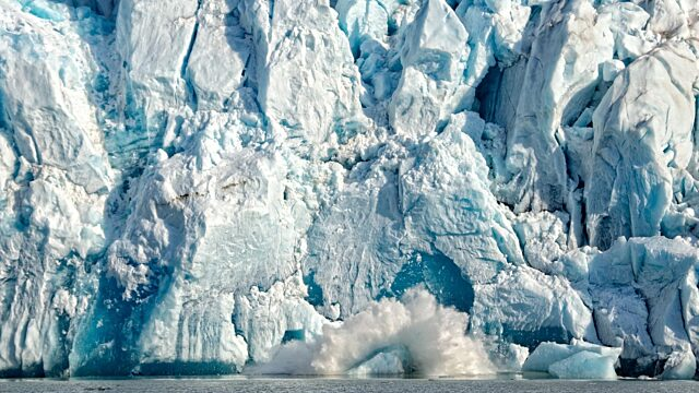 Iceberg calving from tide water glacier