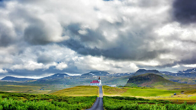 Iceland church road clouds