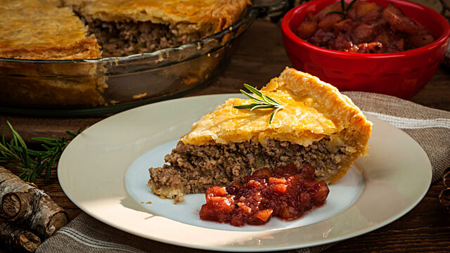 Tourtiere slice on plate