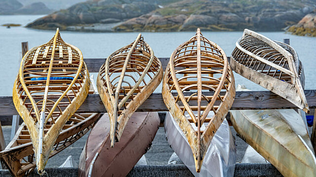 Traditional and modern kayaks and frames sisimiut greenland