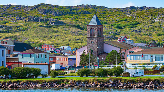Waterfront town and hillside Saint Pierre